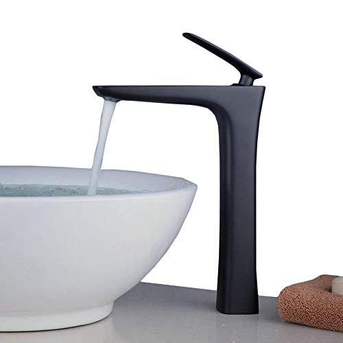 Beelee Bathroom Vessel Sink Mixer Faucet 11inch Single Handle One Hole Matte Black ()