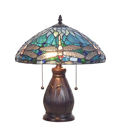 Allendale Dragonfly Tiffany Stained Glass Table Lamp - 14 L x 14 W x 16.5 H ()
