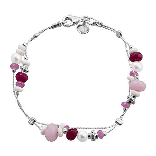 Silpada 'Terracotta' Natural Jade, Riverstone, Freshwater Cultured Pearl Chain Bracelet in Sterling Silver ()