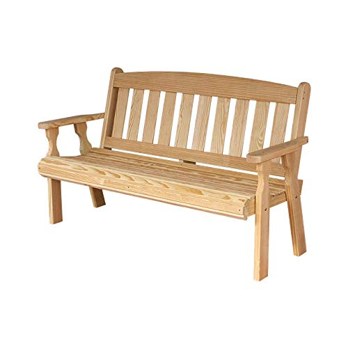 CAF Amish Heavy Duty 800 Lb Mission Pressure Treated Garden Bench (4 Foot, Unfinished)