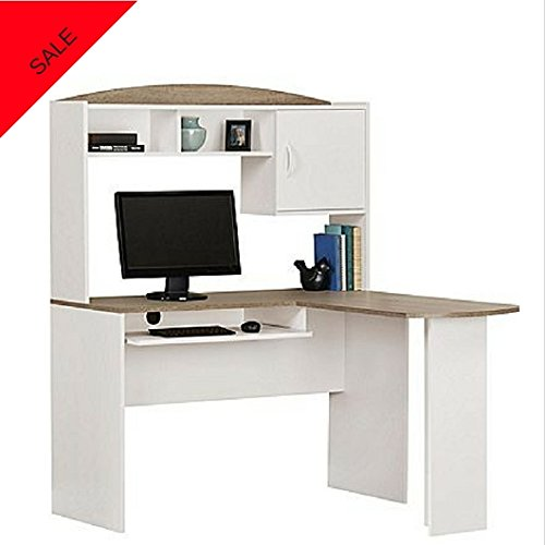 Price comparison product image Corner Computer Office Desk Computer Office Desk With Storage Space And Keyboard Student Desk For Small Spaces For Home / Office Use White / Light Grey Finish And E book By TSR