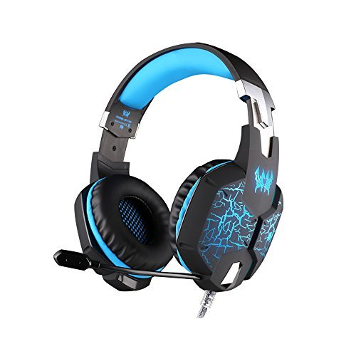 Each G1100 USB 3.5mm Gaming Headphones Headset Earphone Headband with Mic Stereo Bass LED Light for PC Black+Blue