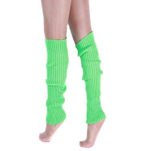 Ewandastore Candy Color Women 80s Winter Leg Warmers Knitted Wool Crochet Long Boot Socks Green ()