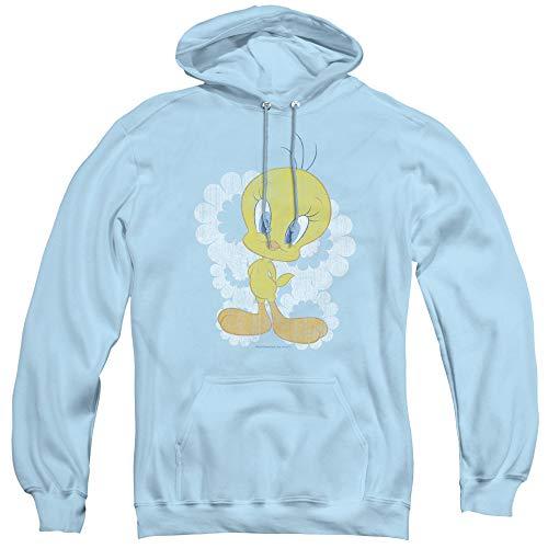 (Looney Tunes Retro Tweety Unisex Adult Pull-Over Hoodie for Men and Women, Medium Light Blue)