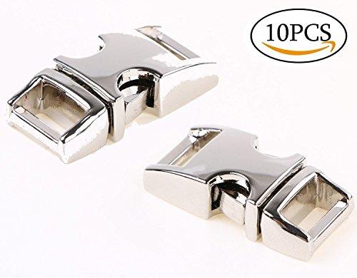 Mini Skater 10pcs 3/8 inch (10mm) Metal Adjustable Side Release Buckles Clasps for Pet Collar Backpack Belt (10pcs 3/8inch Silver) (Release Buckles Webbing Dog Collar)