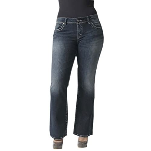 Silver Jeans Women's Junior's Plus Suki Midrise Plus Bootcut Dark ...