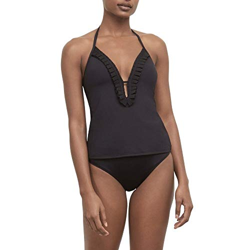 Kenneth Cole New York Women's V-Neck Keyhole Halter Tankini Swimsuit Top, Black//Pleats to Meet You, Small