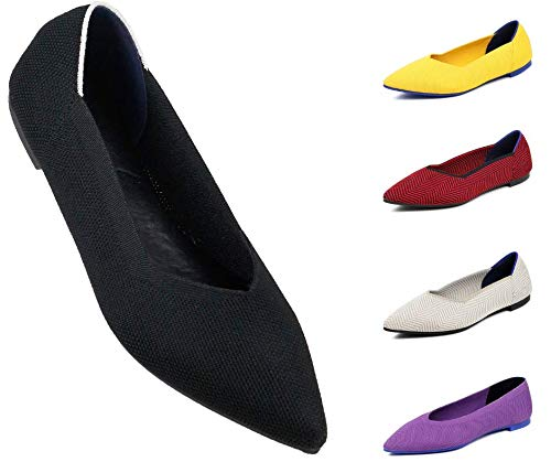 DASTI Women Flat Shoes Leisure Summer Slip-on Soft Stretch Mesh Comfort Ballet (8,5, Black)