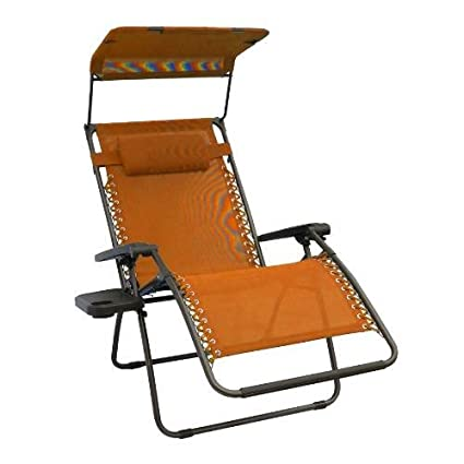 Medium image of bliss hammocks wide gravity free lounger with pillow canopy side tray terra cotta