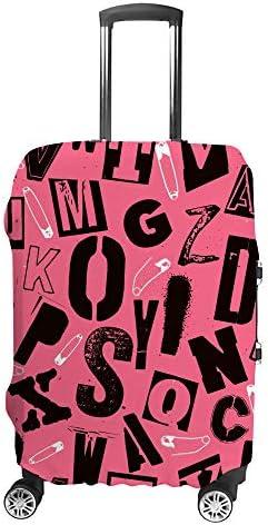 スーツケースカバー パンクロックタイポグラフィー組成物 ピンク アルファベット 伸縮素材 キャリーバッグ お荷物カバ 保護 傷や汚れから守る ジッパー 水洗える 旅行 出張 S/M/L/XLサイズ