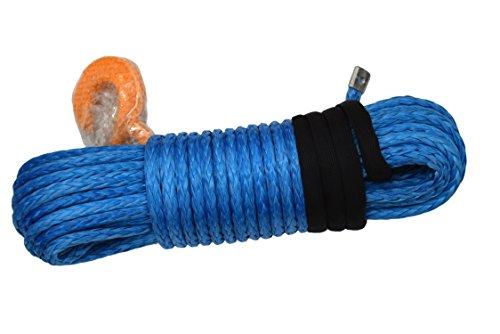 1/2'*95ft kevlar cable del cabrestante,Cuerda Cable Línea con Funda Cabrestante Sintético 25000lbs para ATV UTV (Blue)