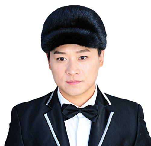 YR Lover Men's Warm Mink Fur Peaked Cap Trapper Hat Beret Caps