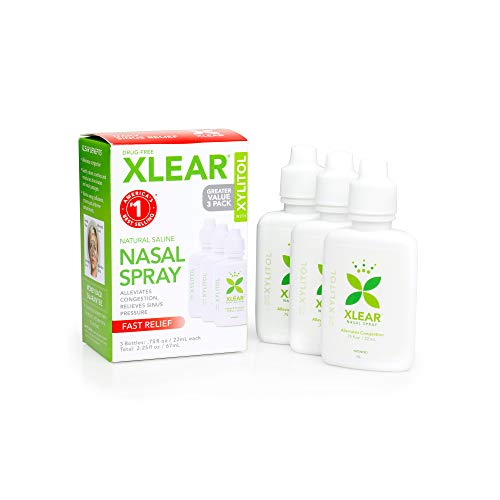 Xlear Saline Nasal Spray with Xylitol - 0.75 oz - 3 ct (Best Medicine For Sore Throat And Drainage)