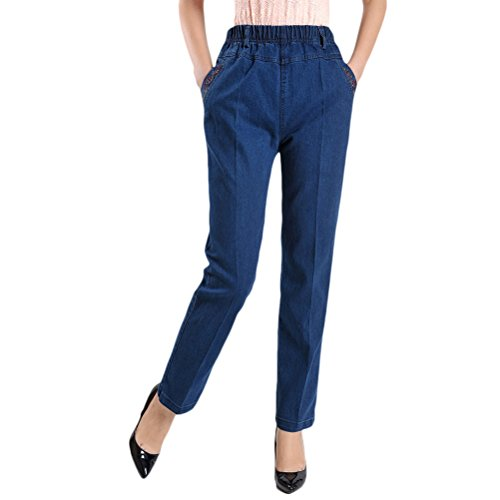 Middle Womens Ladies Jeans Aged Xxxxxxl Pants Alta Zhhlaixing Blue Pantaloni Elasticizzati Embroidery Vita Straight Mother Donna qAFw5xnnvt