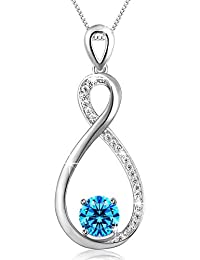 Jewelry for Women Infinity Necklace 925 Sterling Silver Pendant Necklace with Blue Cubic Zircon, Elegant Jewellery...