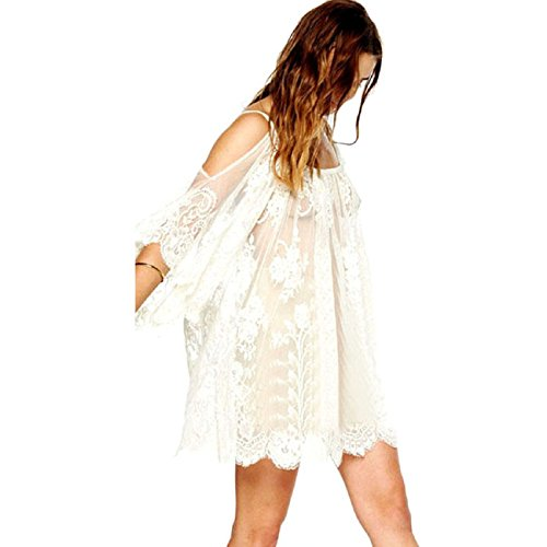 Portrait Crochet - Tonsee Women Sexy Boho Embroidered Floral Lace Crochet Mini Dress (S)