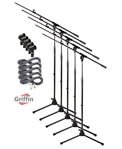 Microphone Stand with Boom Arm, XLR Cable and Mic Clip (Pack of 5) by Griffin | Tripod Telescoping Premium Quality for Studio, Karaoke, Live Performances, Conferences | 20 ft Pro Audio Mic Cord Patch from Griffin