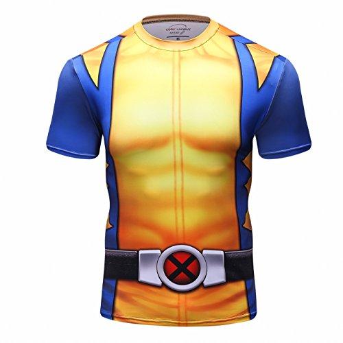 Red Plume Men's Superhero Shirt Sports Fitness T-Shirt Party/Cosplay Short Sleeve (XXL) -