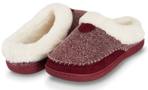 Floopi Womens Indoor Outdoor Herringbone Fur Lined Clog Slipper W/Memory Foam (L, Burgundy-312) ()