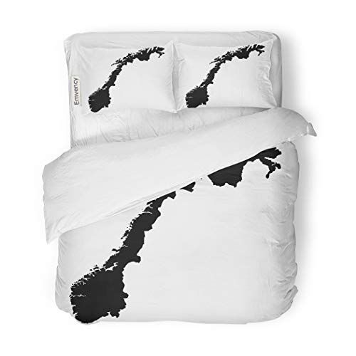 - SanChic Duvet Cover Set Outline High Detailed Map Norway Country Shape Abstract Decorative Bedding Set with 2 Pillow Cases Full/Queen Size