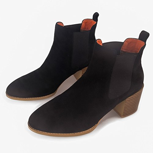 Chunky Heel Frestepvie Shoes Chelsea Block Platform On Biker Black Donna Stivaletti Nero Stretch Short Slip Size rIqx1A0I