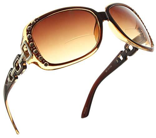 Womens Bifocal Sunglasses | Oversized Rhinestone Sun Readers | Fashionable Reading Glasses [2.25, Brown] (Reading Glasses Rhinestone Brown)
