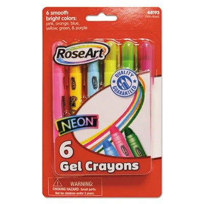 RoseArt Neon Gel Crayons, 6-Count, Assorted Colors