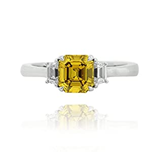 1.37Cts Yellow Diamond Engagement 3 Stone Ring Set in 18K White Gold GIA Cert Size 6