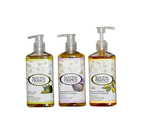 South of France Green Tea Hand Wash, Lavender Fields & Lemon Verbena Bundle with Aloe Leaf Extract and Coconut Oil, 8 fl. oz. each