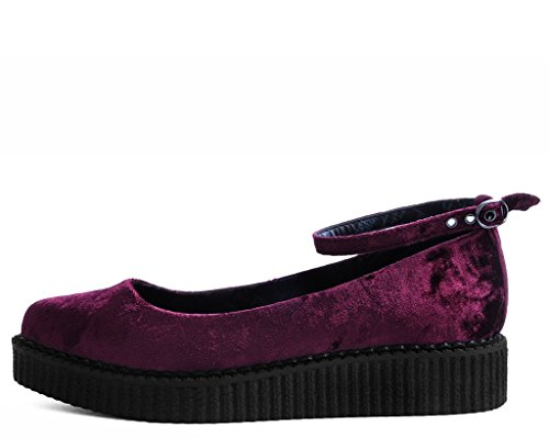 T.U.K. Shoes A9455L Womens Creepers, Burgundy Velvet Pointed Ballet Ankle Strap Creeper