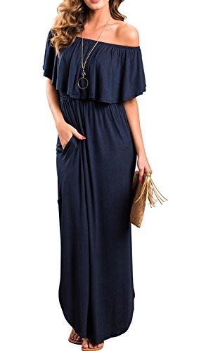 I2CRAZY Women Loose Fit Side Split Off The Shoulder Party Dress with Pockets(Size-L,NavyBlue) by I2CRAZY