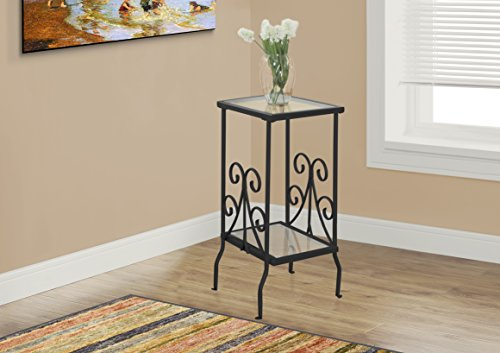 Monarch Metal Accent Table with Tempered Glass, 30″, Black