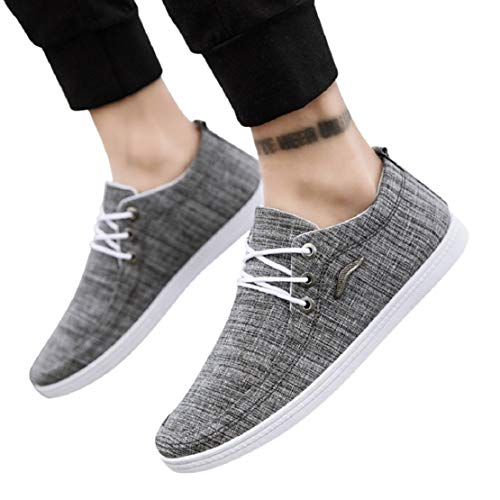 Men's Fashion Canvas Boat Shoes Lace up Casual Walking Shoes Sneakers Classic Flat Driving Shoes Sneakers by Lowprofile Gray
