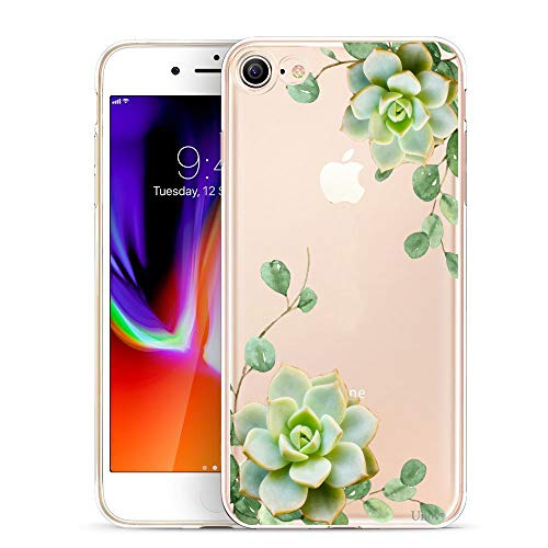 Unov Case Clear with Design Embossed Pattern TPU Soft Bumper Shock Absorption Slim Protective Cover for iPhone 8 iPhone 7 4.7 Inch(Succulent Plant)