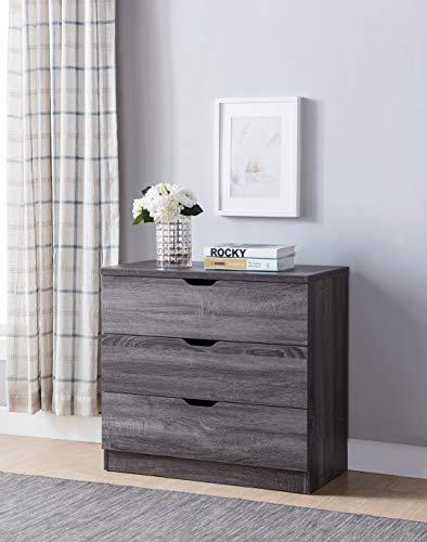 Smart home K16072 Contemporary 3 Drawer Chest Dresser, Distressed Grey Color, Dresser for Bedroom