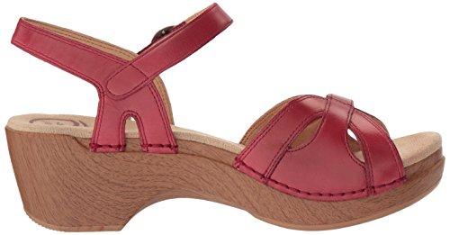 Dansko Kvinna Säsongen Flat Sandal Röd Skinande
