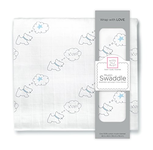 (SwaddleDesigns Cotton Muslin Swaddle Blanket, Pastel Blue Doggie Star)