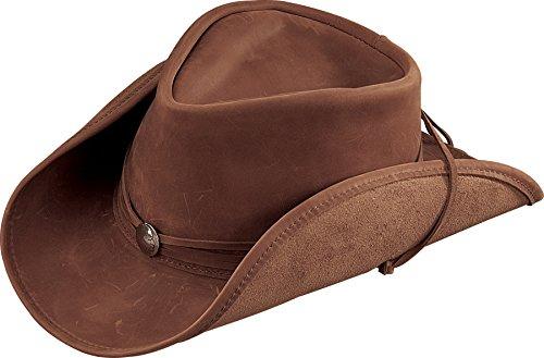 - Henschel Walker Lightweight Leather, Shapeable Brim & Conche Band, Brown, Large