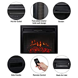 "Kinbor 28"" Electric Fireplace Inserts Heat Adjustable in-Wall Mount Recessed Fireplace Heater with Realistic Flame, Remote Control by GB"