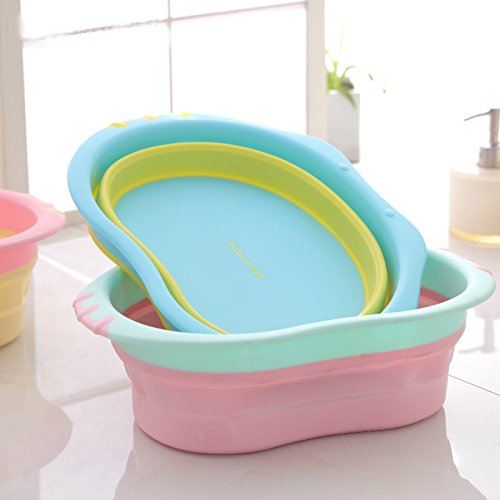 Creation Core Collapsible&Portable Baby Kids Space-saving Wash Basin Tub for Travel(Pink)