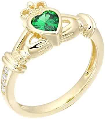 Shakti Jewels 14k White Gold Over 925 Sterling Silver Solitaire with Accents Engagement Ring 1.30cttw Round Cut Green Emerald /& White Cubic Zirconia