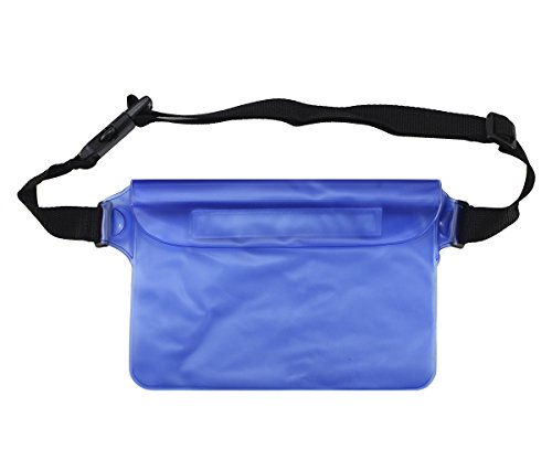 Lilware Waterproof Mini Bag. Thin and Lightweight Carrying Case With Triple Layer Protection and Waist Strap. Blue / Semi-transparent