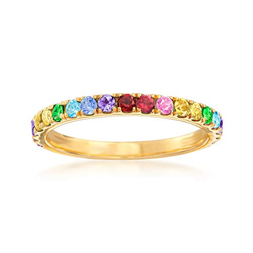 (Ross-Simons .64 ct. t.w. Multi-Gemstone Rainbow Ring in 18kt Gold Over Sterling )