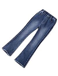 pipigo Big Girls Elastic Waist Bell Bottom Slim Fit Distressed Jeans Denim Pants