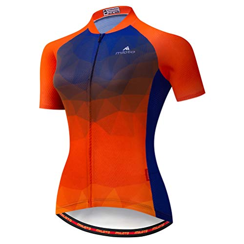 - Uriah Women's Cycling Jersey Short Sleeve Reflective Orange Blue Size L(CN)