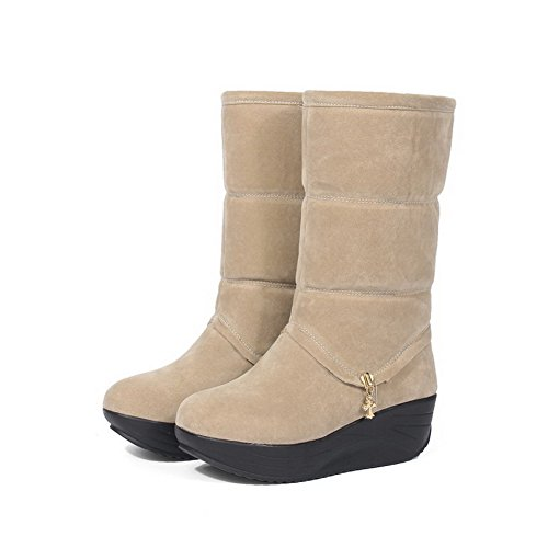 AgooLar Women's Kitten-Heels Solid Round Closed Toe Frosted Pull-on Boots Beige ZrKmEs9nSC