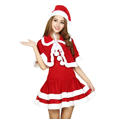 Adult Miss Red Costumes (Quesera Miss Santa Suit Adult Sweetie Christmas Halloween Party Costume Dress,Red,One Size Fits US Size 2-8)