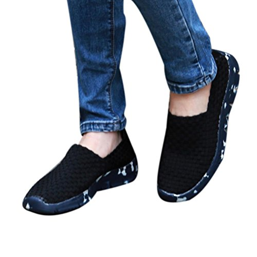 top Women Woven Flat Sneakers,Clearance! AgrinTol Breathable Shallow Mouth Lazy Slip Resistant Leisure Sport Shoe
