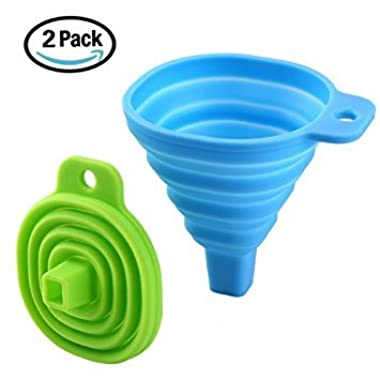 Icicle Funnel Collapsible Set of 2, Foldable Funnel for Liquid Transfer 100% Food Grade Silicone (Blue & Green)