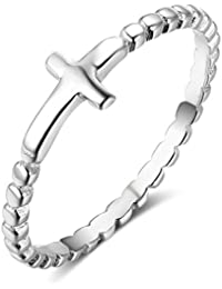 925 Sterling Silver Simple Cross Ring, Size 6 7 8